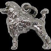 Vintage Silver Figural Poodle Dog Charm Sterling Rhodium
