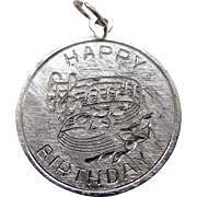 Vintage Silver Music Happy Birthday Charm Sterling Detailed 1 inch