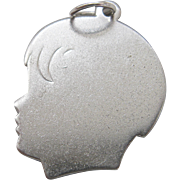 Vintage Silver Boy Silhouette Charm Sterling Engraved Guy