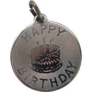 Vintage Silver Hologram Happy Birthday Charm Sterling Multi Color