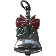 Silver Enamel Wells Christmas Bell Charm Sterling Vintage
