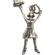 Vintage Silver Figural Cheerleader Charm Sterling SS