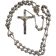 Vintage Sterling Silver Bead Rosary Beads Religious SS 6mm Catholic Bride Groom Communion