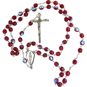 Vintage Red Aurora Borealis Rosary Beads Italy Silvertone AB Catholic Bride Communion