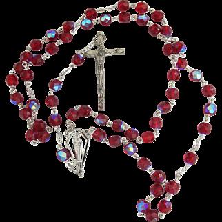 Vintage Red Aurora Borealis Rosary Beads Italy Silvertone AB Catholic Bride Communion