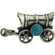 Vintage Figural Conestoga Covered Wagon Charm Sterling Silver Faux Turquoise