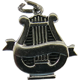 Vintage Sterling Silver Lyre Charm Griffith Engravable