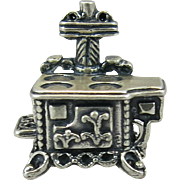 Vintage Sterling Beau Stove Charm Cookstove Silver Figural Woodstove