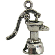 Sterling Beau Reticulated Water Pump Charm Vintage Figural Silver
