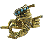 Vintage Jomaz Mazer Cornucopia Ring Turquoise Goldtone Unmarked Size 6.5 Horn of Plenty