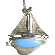 Vintage Nuvo Silver Sailboat Charm Pendant Sterling Blue Glass