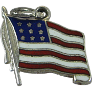 Vintage Silver Danecraft Enamel American Flag Charm Sterling Old Glory USA Made