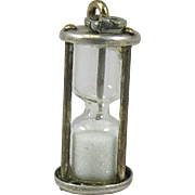 Vintage Silver Beau Hourglass Charm Pendant Sterling Sands of Time