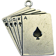 Vintage Silver Royal Flush Poker Cards Charm Sterling Wells