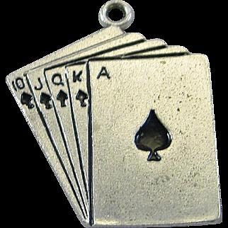 Vintage Silver Royal Flush Poker Cards Charm Sterling Wells
