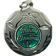 Vintage Silver Enameled Christmas Charm Pendant Sterling Mistletoe