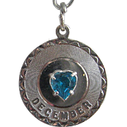 Vintage Silver December Birthstone Charm Sterling Faux Topaz Heart