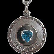 Vintage Silver December Birthstone Charm Sterling Faux Topaz Heart