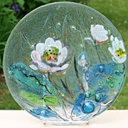 Textured Fused Art Glass Floral Plate Controlled Bubble Gilt Accents