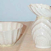 Vintage Belleek Double Shell Sugar and Creamer 3rd Green Mark