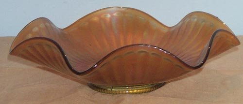 Vintage Smooth Rays Marigold Carnival Glass Candy Dish