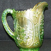 Imperial Lime Green Carnival Glass Windmill Milk Pitcher  VHTF Color