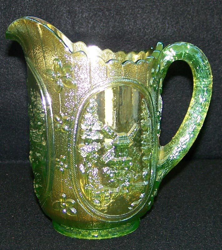 Imperial Lime Green Carnival Glass Windmill Milk Pitcher