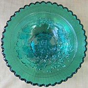 "Imperial Teal 7"" Carnival Glass Windmill Bowl"