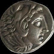Vintage Silver Greek Tetradrachm Coin Alexander The Great ca 1962