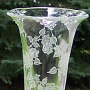 Heisey Rose Etch Flower Vase Waverly Shape