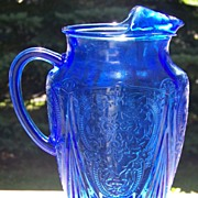 Cobalt Blue Royal Lace Depression Glass 96 oz Pitcher Ice Lip