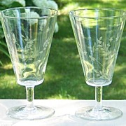 Set of 4 of Star and Leaf Etch Goblets