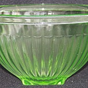 Green Depression Glass Hocking Ribbed Mixing Bowl Kitchenware