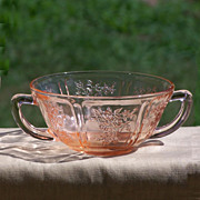 Pink Depression Glass Sharon Handled Cream Soup Bowl