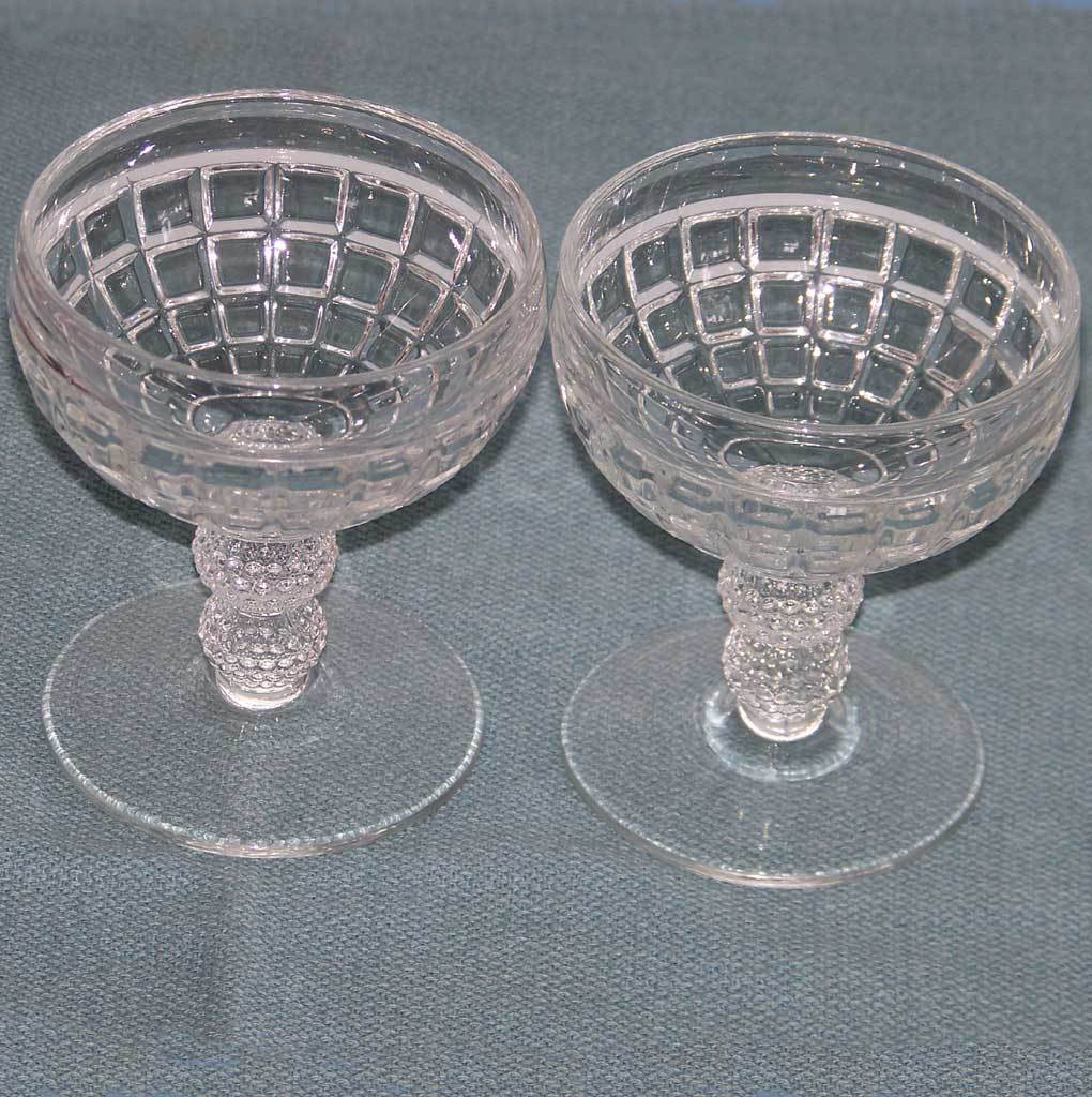 2 Heisey Victorian Pattern Saucer Champagne Goblets