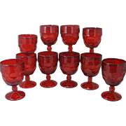 10 Red Viking Georgian Water Goblets Vintage 10 ounce