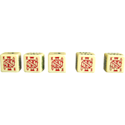 5 Vintage Poker Dice Set Plastic