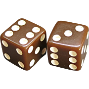 Pair Vintage Brown Plastic Dice Matched Set