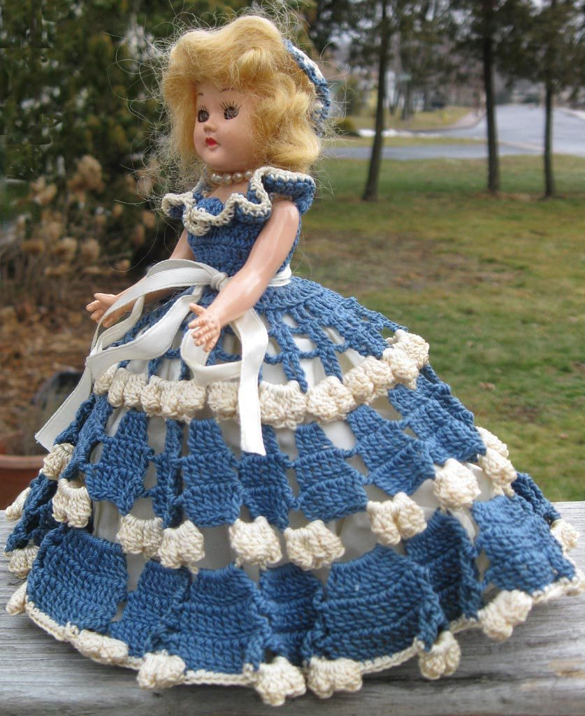 Plastic Doll Elaborate Crocheted Dress 7 inches Blonde Mohair