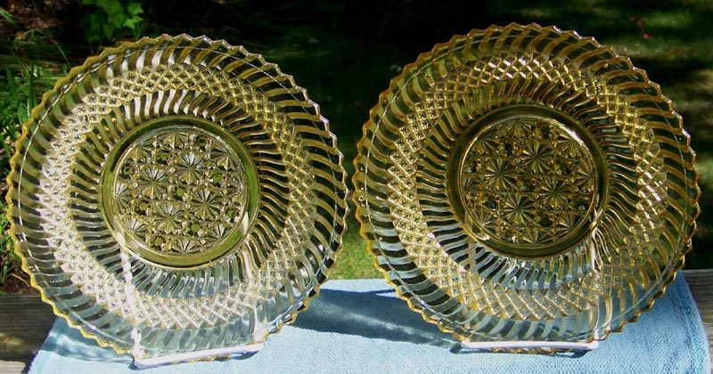 Pair of Jersey Swirl Yellow EAPG Plates by Windsor, ca. 1896