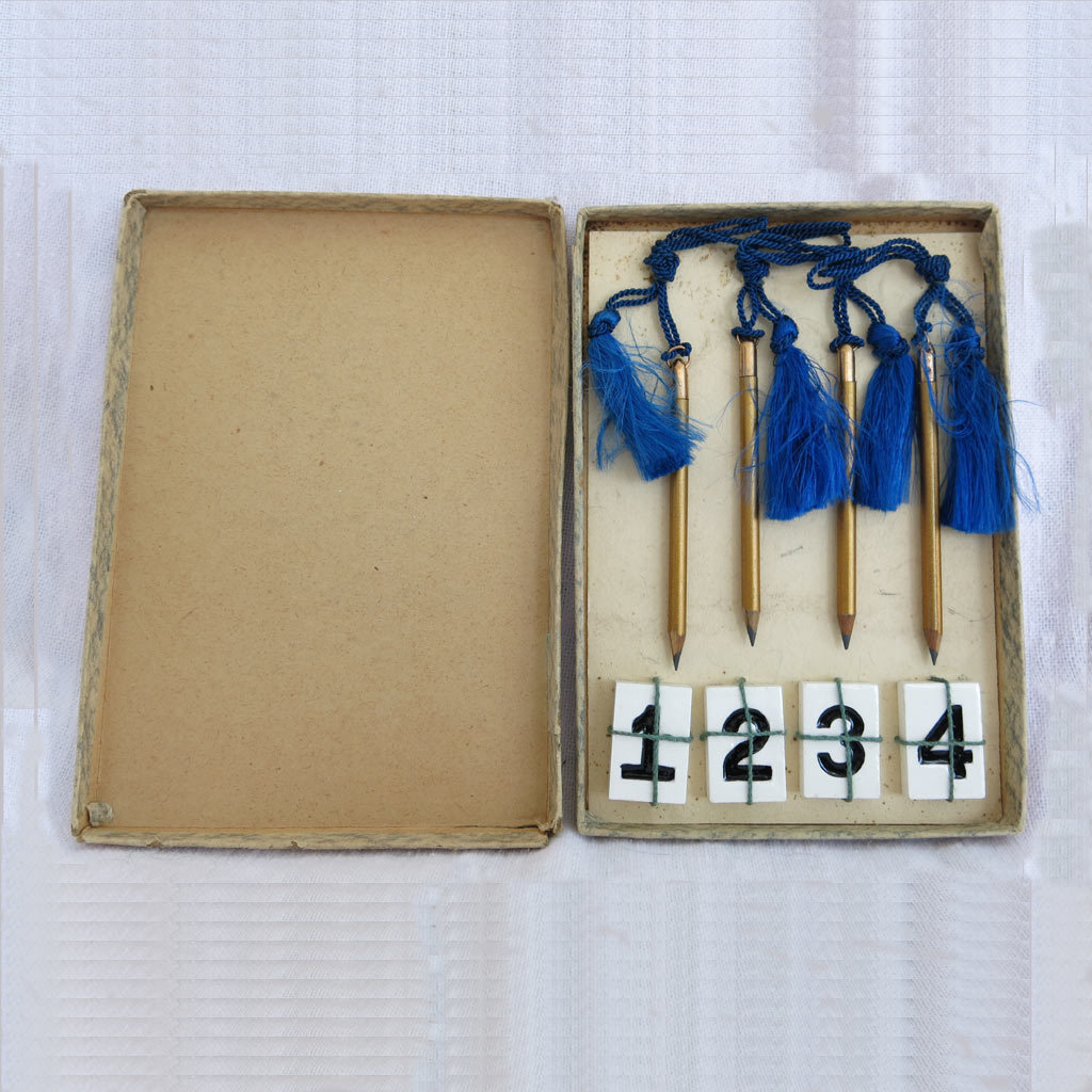 Vintage Bridge Game Original Box Pencil Table Numbers