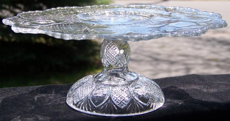 EAPG Daisy aka Sunk Daisy Pedestal Cake Stand by Cooperative Flint Glass ca. 1896
