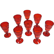 8 Vintage Red Viking Mount Vernon Water Goblets Line 1600 NM