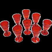 8 Vintage Red Viking Mount Vernon Water Goblets Line 1600 NM