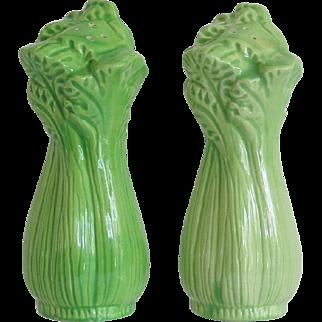 Vintage Celery Stalk Shaker Salt Pepper Set Taiwan Original Stoppers