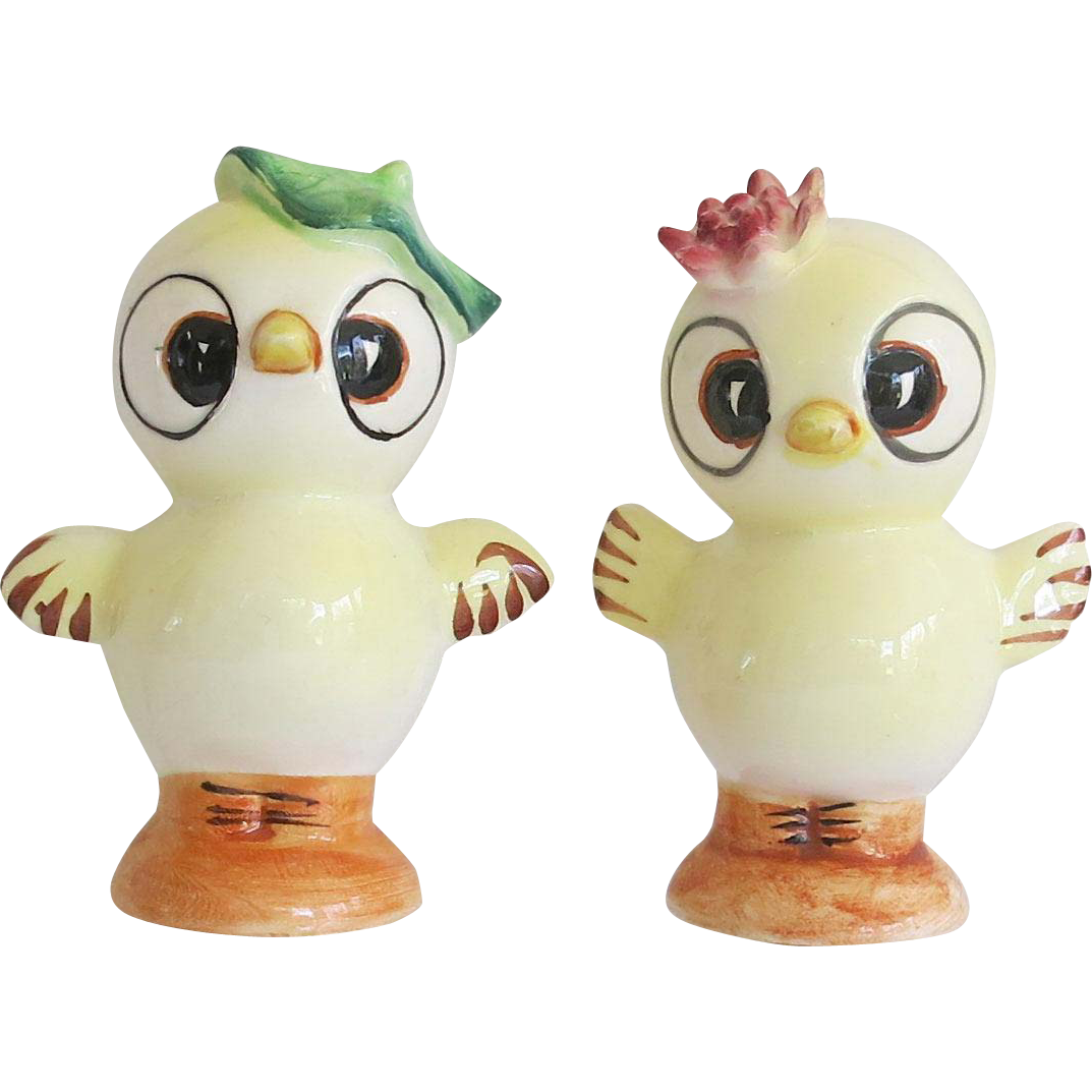 Vintage Anthropomorphic Chick Salt Pepper Shaker Set Japan