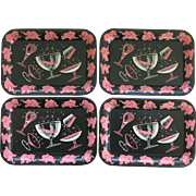 4 Pink Elephant Metal Trays Serving Tip Bar
