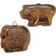 2 Vintage Copper Farm Animal Molds Pig Sheep Mom Baby