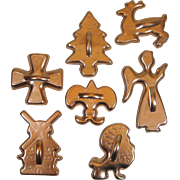 7 Vintage Aluminum Copper Cookie Cutters Anodized Color Windmill Maltese Cross Lion