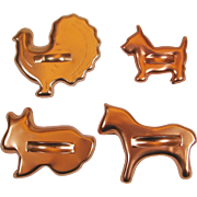 4 Vintage Animal Cookie Cutters Copper Color Aluminum Horse Scotty Dog Turkey Bunny Rabbit